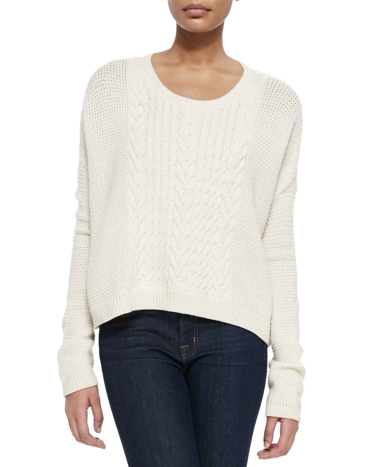 Scoop-Neck Open-Weave Sweater, Size: LARGE, ivory - Alice + Olivia