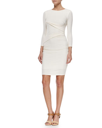 3/4-Sleeve Ruched Sheath Dress