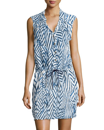 Sailcloth Striped Drawstring-Waist Dress