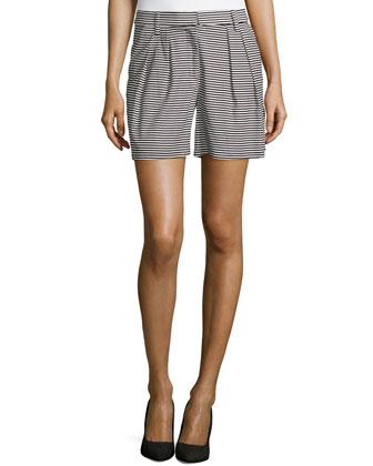 Striped Satin Shorts, Black/Ivory