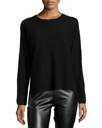 Long-Sleeve Round-Neck Cashmere Sweater