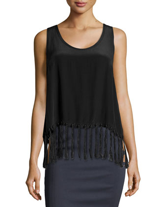 Fringed Crepe De Chine Top