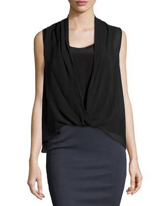 Polly Sleeveless Layered Silk Top