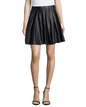 Swingy Pleated Leather Skirt
