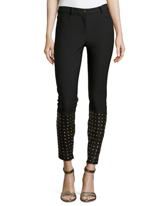 Cole Denim Pants with Studded Leather Detail