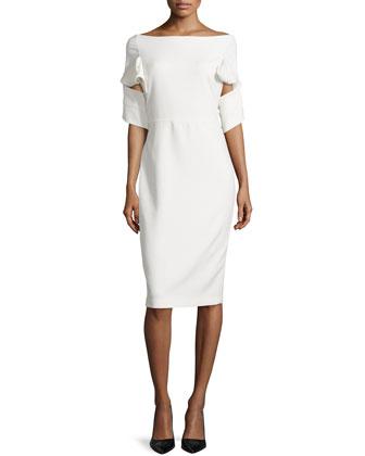 Origami Sheath Day Dress, Ivory