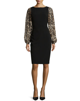 Leopard-Sleeve Sheath Dress