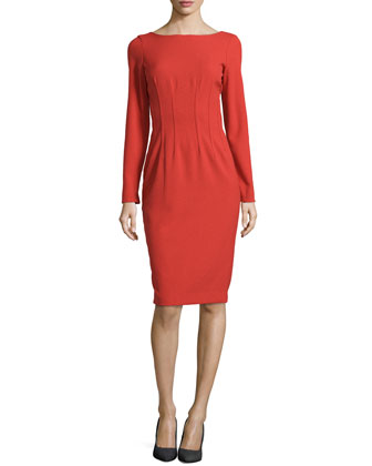 Long-Sleeve Darted Sheath Dress