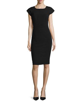 Embellished Shoulder Sheath Day Dress