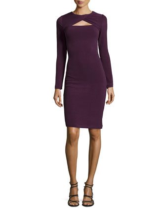 Neck-Twist Day Dress, Plum