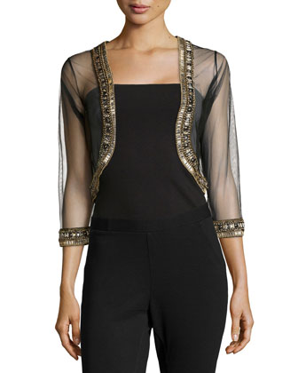 Beaded Sheer Bolero Jacket, Black