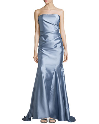 Ruch-Side Strapless Mermaid Gown, Light Blue
