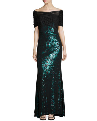 Leopard Sequined Tulle Gown