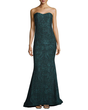 Sweetheart-Neck Strapless Brocade Gown