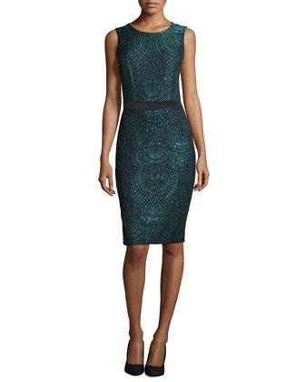 Ergonomic Brocade Cocktail Dress, Teal/Black