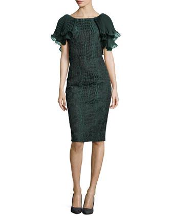 Croc-Print Jacquard Cocktail Dress