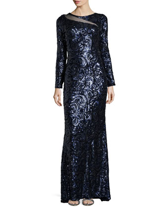 Long-Sleeve Sequined Paisley Gown, Navy