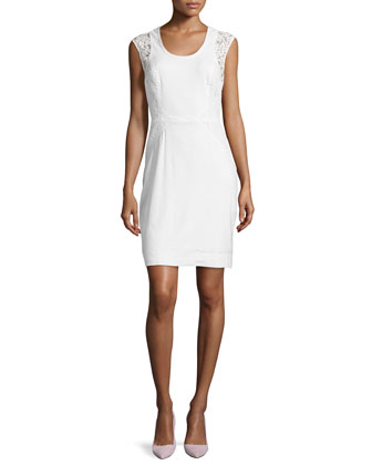 Dorian Linen Lace-Panel Sheath Dress