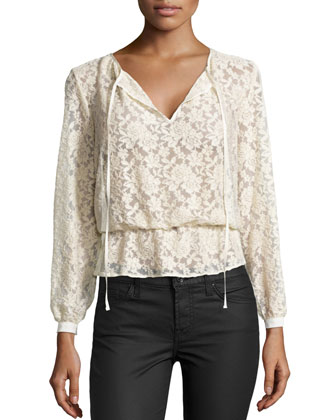 Gauzy Lace Top, Ivory