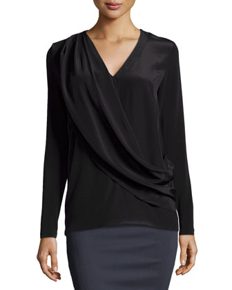 Liam Enzyme Washed Silk Draped Top, Black