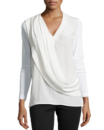 Liam Enzyme Washed Silk Draped Top, Ivory