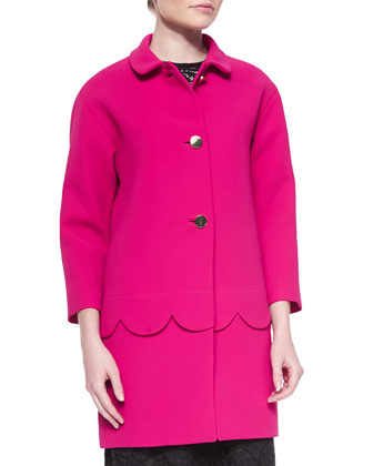 talia button-front coat w/ scalloped detail