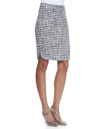 v-neck flutter-sleeve crepe tee & tweed pencil skirt