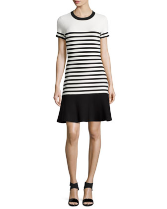 striped stretch-knit scuba dress