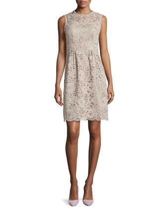 floral lace sheath dress, mushroom
