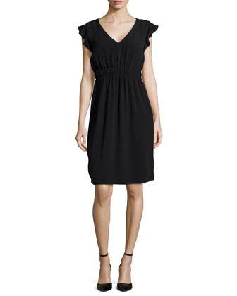 fluid crepe frill dress