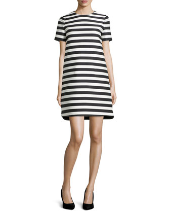 yarn dyed stripe shift dress