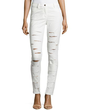 Versailles Jacquard Distressed Pants, White