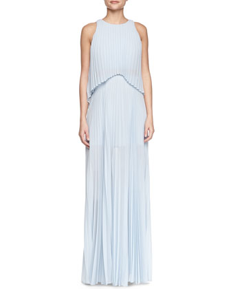 Shaina Sleeveless Pleated Popover Gown