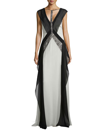 Jenelle Sleeveless Colorblock Gown