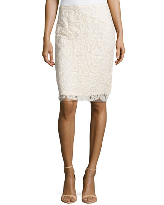 Embroidered Mesh Pencil Skirt, Ivory