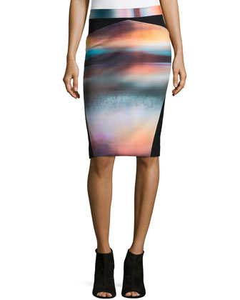 Ava Dreamscape Pencil Skirt