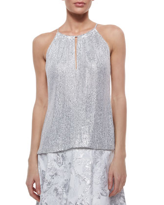 Halter Metallic Sequined Top
