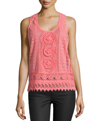 Avery Sleeveless Crochet Lace Top, Terracotta