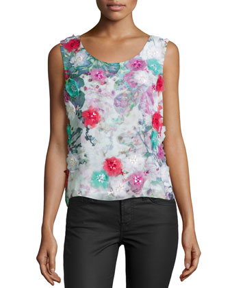 Faint Floral-Print Georgette Top