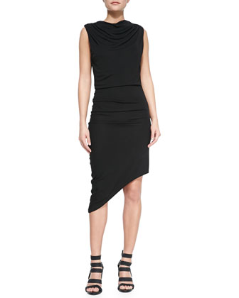 Beaded Sweeping Tassel Neckpiece & Draped Asymmetric Jersey Dress