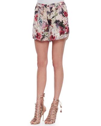 Floral-Print Tab-Waist Flowy Shorts