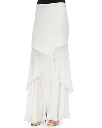 Sheer/Solid Wrap Skirt