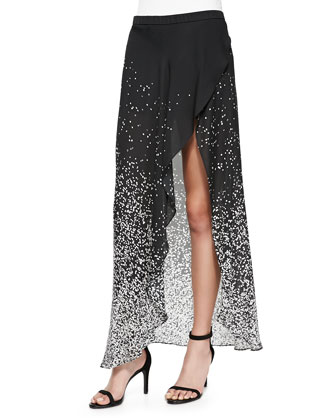 Draped-Back Long-Sleeve Blouse & Printed High-Low Wrap Skirt