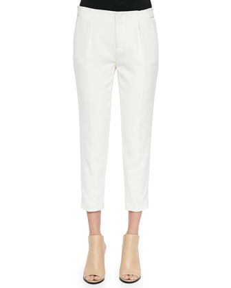 Pleated Straight-Leg Capri Pants