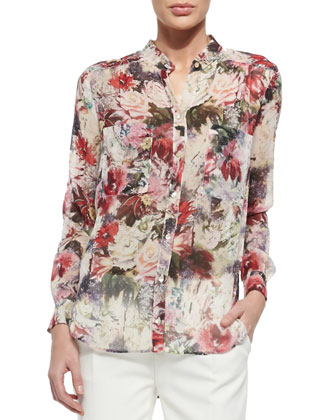 Tree Of Life Embroidered Sheer Top, Draped Floral-Print Blouse & Pleated ...