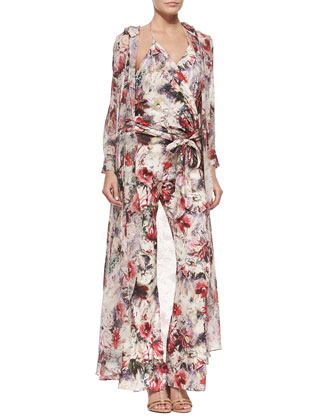Hooded Floral-Print Chiffon Jacket