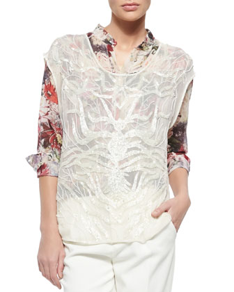 Tree Of Life Embroidered Sheer Top