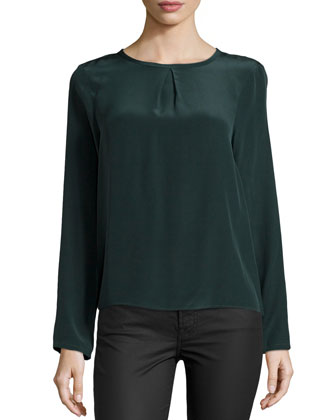 Syracuse Silk Back-Wrap Top, Black