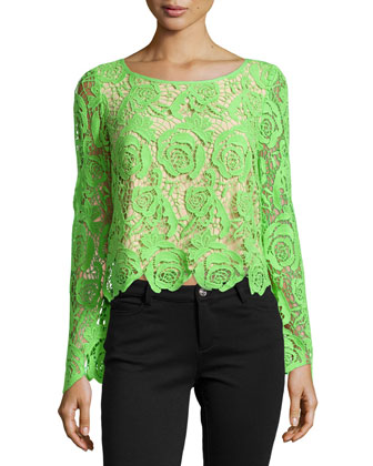 Long-Sleeve Venice Lace Top