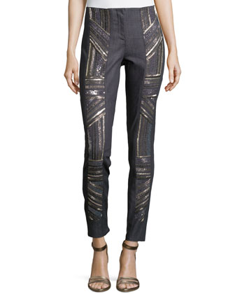 Armour Beading Denim Pants